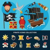 pirata, iconos, caricatura, colección, vector, ilustración vector