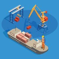 Cargo Ship Isometric Composition Vector Illustration