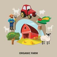 Farm Cartoon Composition Vector Illustration