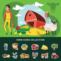 Cartoon Farm Composition Vector Illustration