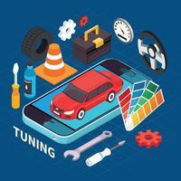 Ilustración de vector de ilustración de auto servicio y ajuste