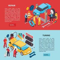 Banners de servicio automático establecer ilustración vectorial vector