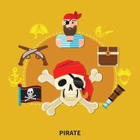 Ilustración de vector de composición de dibujos animados pirata