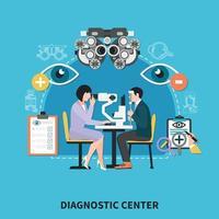 Oculist Diagnostic Center Poster Vector Illustration