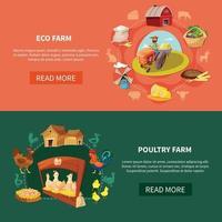 Farm Cartoon Banner Set Vector Illustration