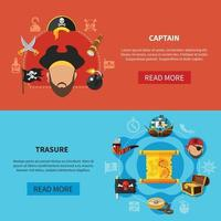 Ilustración de vector de banners de dibujos animados de tesoro pirata