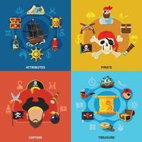 Ilustración de vector de concepto de diseño de dibujos animados pirata
