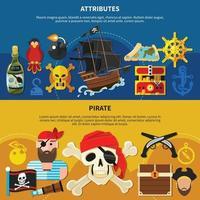 Ilustración de vector de conjunto de banner de dibujos animados pirata