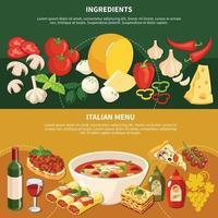 Italian Menu Horizontal Banners Vector Illustration