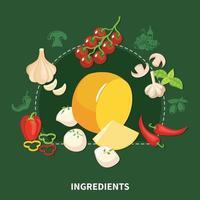 Italian Food Green Background Vector Illustration