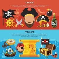 Ilustración de vector de banners de dibujos animados de capitán pirata