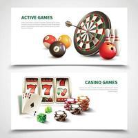 Games Realistic Banner Set Vector Illustration