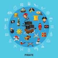 Ilustración de vector de composición de dibujos animados de atributos piratas