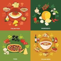 Italian Food 2x2 Design Concept Vector Illustration