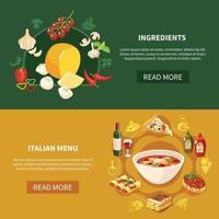 Italian Food Horizontal Banners Vector Illustration