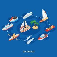 Ilustración de vector de composición isométrica de viaje por mar