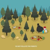 Forest Pollution Isometric Composition Vector Illustration