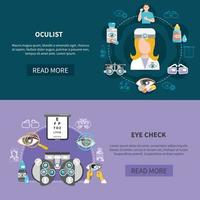 Oculist Eye Test Banners Vector Illustration