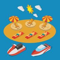 Small Ships Isometric Composition Vector Illustration