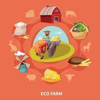 Farm Cartoon Colored Composition Vector Illustration