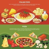 Italian Dishes Horizontal Banners Vector Illustration