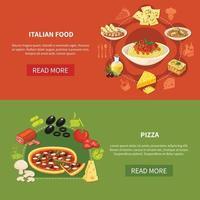 Italian Cuisine Horizontal Banners Vector Illustration