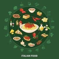 Italian Cuisine Round Set Vector Illustration
