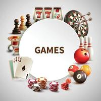 Games Realistic Round Frame Vector Illustration