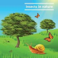 Ilustración de vector de cartel de naturaleza de insectos caracol