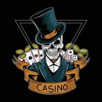 royal casino gambler skull vector editable layers
