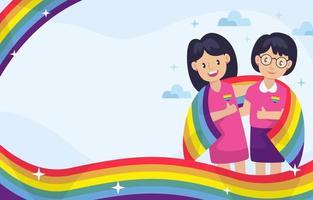Couple celebrate pride day background vector