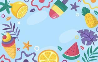 fondo plano de comida de verano vector