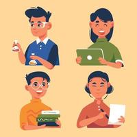 Collection Of Student Doing School Activity vector