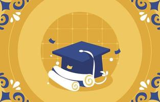 Graduation Background With Graduation Hat And Paper vector