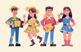 conjunto de coloridos personajes de festa junina vector
