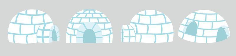 Igloos ice house in flat design set vector