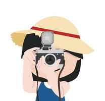 Small girl with camera is taking pictures with straw hat vector
