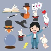 Collection of Magic Objects Cartoon Style Vector