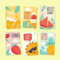 Cute Summer Cards collection vector