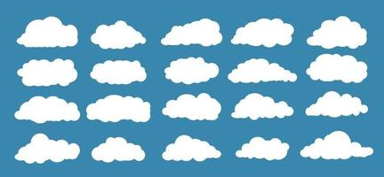 Cloud set isolated on blue background vector