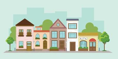 Colorful multicolored vector illustration of a city street. Drawing of houses in a flat style. European cute street with trees and lanterns.