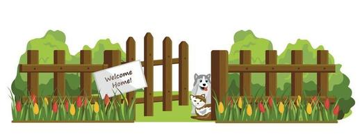Colorful vector drawing of a wooden fence isolated on a white background. A sign with a greeting.
