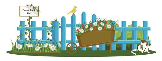 Colorful vector drawing of a blue fence isolated on a white background. A sign that says I'll be back soon. A flower bed with daisies, a cat, a bird, and a flower cart.
