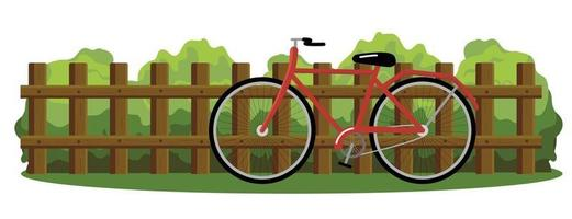 Colorful vector drawing of a wooden fence isolated on a white background. Green bushes and a red bicycle.