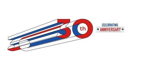 Diseño de celebración de aniversario de 30 años. Ilustración de vector de rgb de arte de línea de color 3d.
