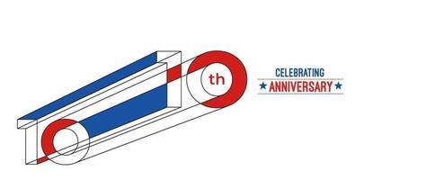 10th Years Anniversary Celebration Design. 3d Color line art RGB vector illustration.