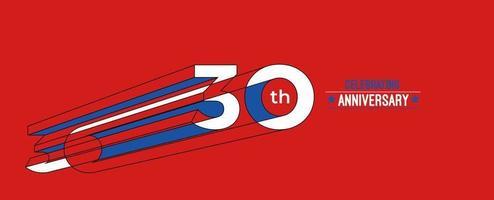 30th Years Anniversary Celebration Design. 3d Color line art RGB vector illustration.