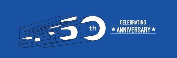 50th Years Anniversary Celebration Design. 3d Color line art RGB vector illustration.