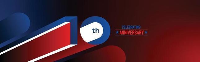Diseño de celebración de aniversario de 10 años. Ilustración de vector de rgb de arte de línea de color 3d.