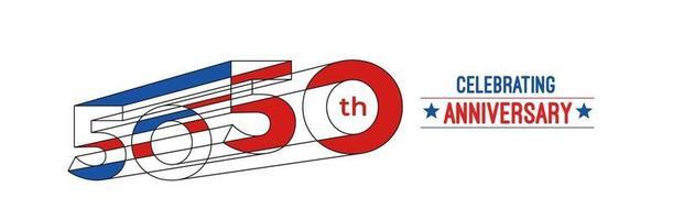 Diseño de celebración de aniversario de 50 años. Ilustración de vector de rgb de arte de línea de color 3d.